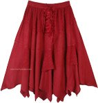 Rodeo Cowgirl Mid Length Handkerchief Hem Skirt in Cherry Red