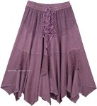 Lilac Rodeo Lace Up Handkerchief Hem Skirt Midi Length