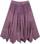 Lilac Rodeo Lace Up Handkerchief Hem Skirt Midi Length