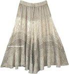 Lustrous Silver Midi Length Western Womens Skirt