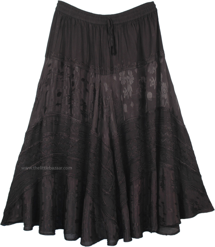 Black Embroidered Western Style Midi Length Skirt