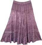 Country Lilac Embroidered Western Style Skirt Midi Length
