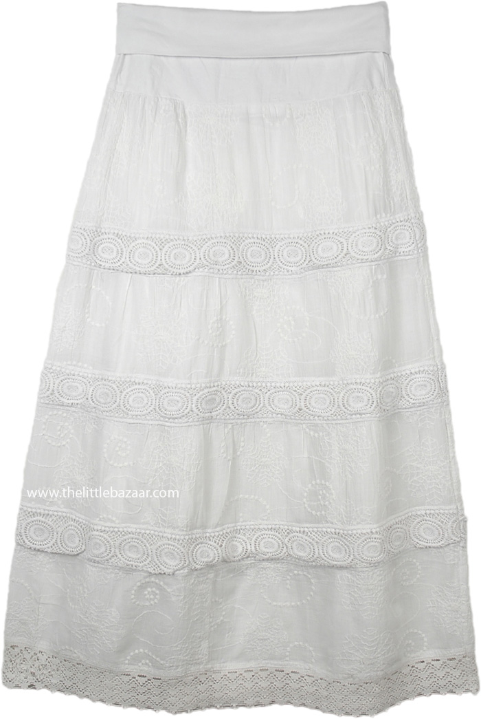 Dove White Crochet and Embroidery Yoga Waist Skirt