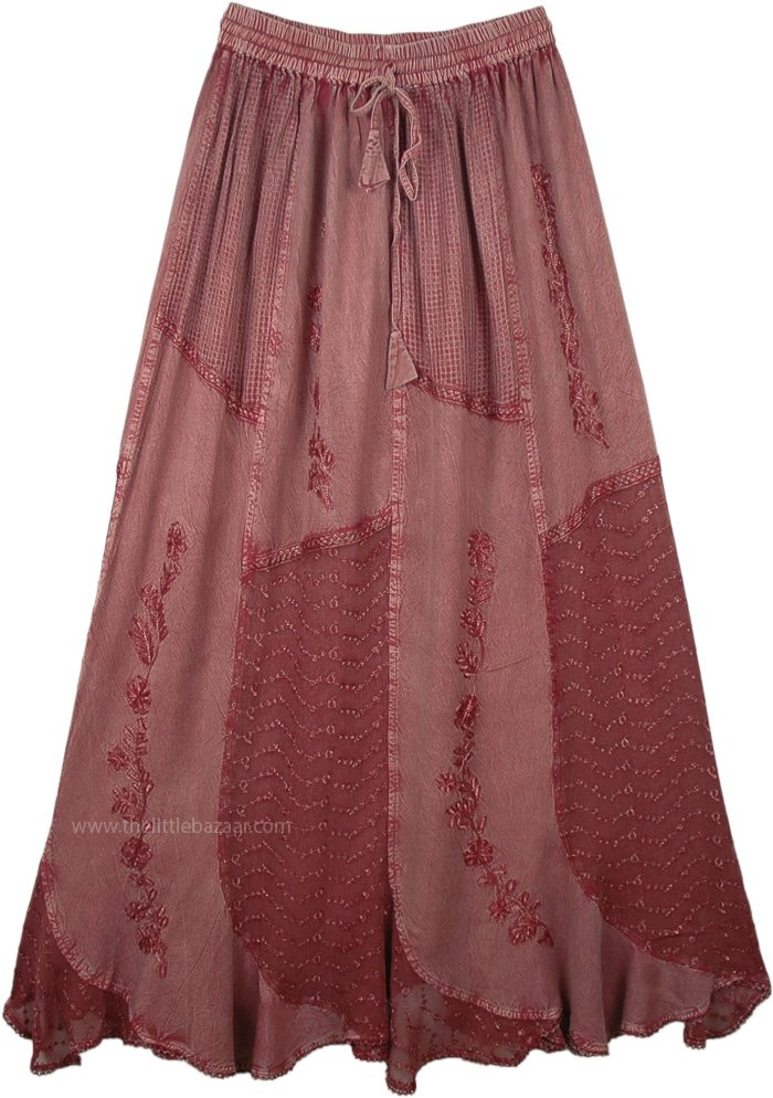 Antique Rosewood Eastern Style Embroidered Gypsy Skirt