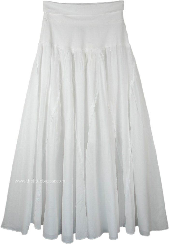 White Cotton Vertical Patchwork Maxi Skirt with Yoga Waist