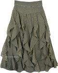 Seaweed Vertical Frills Ruffles Fun Skirt with Flexible Waist