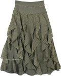 Seaweed Vertical Frills Ruffles Fun Skirt with Flexible Waist
