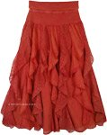 Rust Evening Sky Vertical Ruffle Skirt in Cotton with Knit Waist