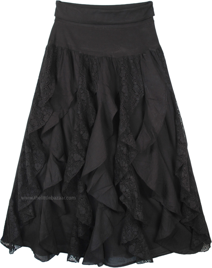 Vertical Black Spiral Frills Gypsy Skirt with Flexible Yoga Waist