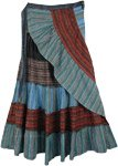 Ruffle Tiered Patchwork Broomstick Wrap Around Skirt