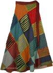 Woven Cotton Razor Cut Patchwork Wrapper Skirt