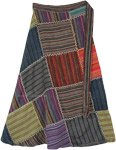 Striped Multi-Colored Cotton Patchwork Wrap Around Skirt