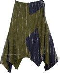 Dark Henna Asymmetrical Hem Cotton Midi Skirt