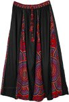 Printed Black Accordion Pleats Long Skirt Elastic Waist