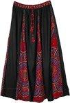Printed Black Accordion Pleats Long Skirt Elastic Waist