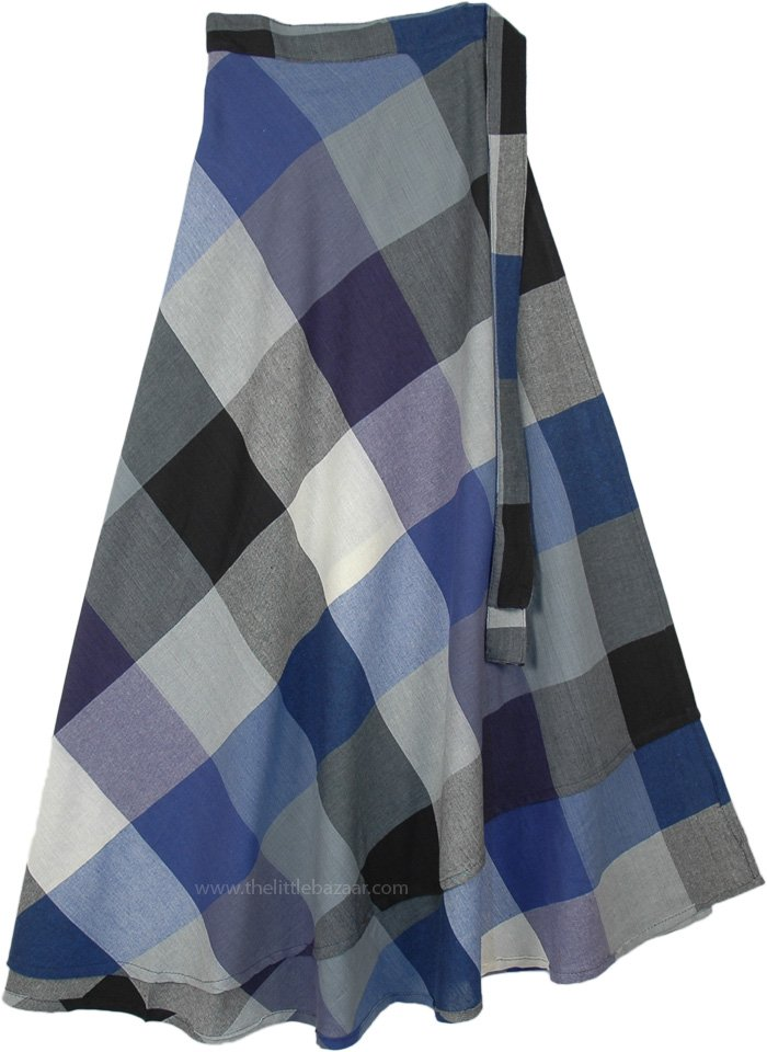 Prewashed Cotton Gingham Wrap Around Skirt Maxi Length