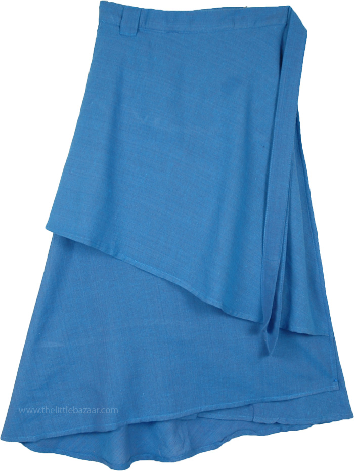 Mid Length Wrap Around Skirt in Glacier Blue