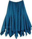 Teal Bohemian Cotton Hanky Hem Skirt in Triangular Frills