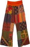 Fall Bloom Boho Patchwork Cotton Yoga Waist Pants