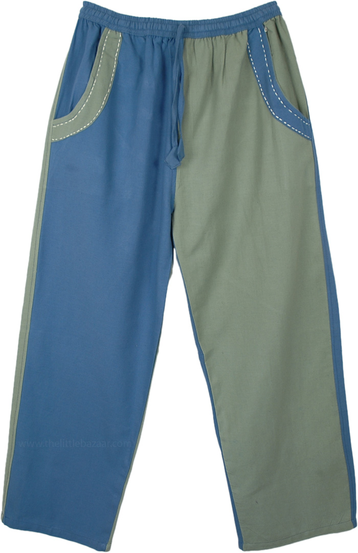 Dual Colored Woven Cotton Trousers with Pockets