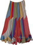 Bohemian Hippie Style Rainbow Maxi Long Cotton Skirt