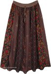 Vertical Panel Patchwork Earthen Hippie Long Skirt