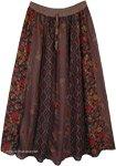 Vertical Panel Patchwork Earthen Hippie Long Skirt