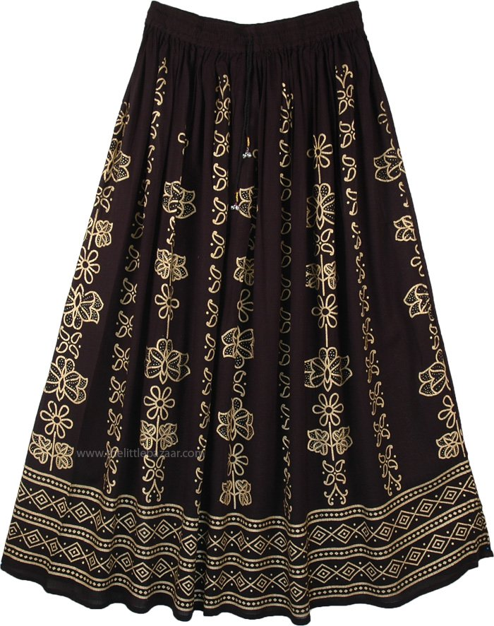 Sycamore Black Gold Floral Painted Rayon Long Skirt