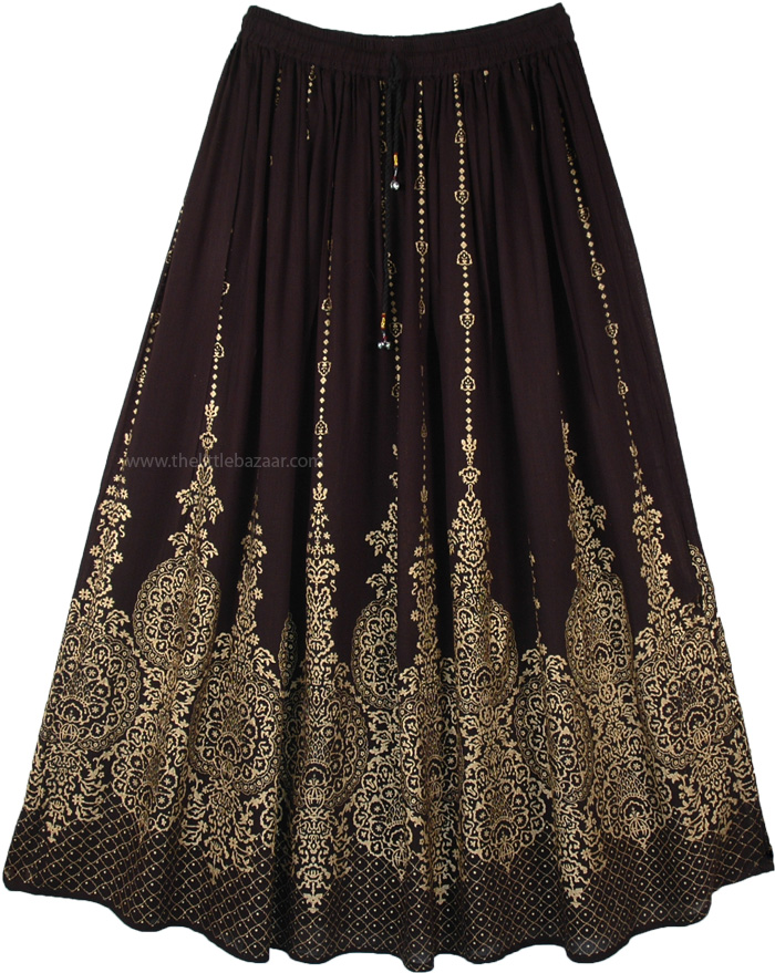 Belly Dancing Long Skirt in Black with Golden Print