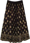 Belly Dancing Black and Gold Long Rayon Skirt