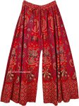 Tomato Red Wide Leg Full Flare Cotton Elephants Pants for Women