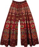 Persian Plum Wide Leg Full Flare Cotton Elephants Pants for Women