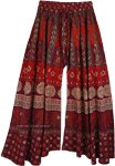 Wine Split Skirt Cotton Pant with Animal Print Wide and Flared