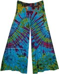Tempting Teal Tie Dye Wide Leg Yoga Pants