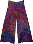Womens Wide Leg Full Tie Dye Palazzo Pants in Purple
