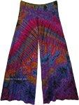 Womens Wide Leg Full Tie Dye Palazzo Pants in Purple