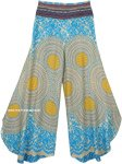 Turquoise Floral Mandala Printed Side Cut Palazzo Pants