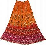 Tie Dye Crinkle Long Skirt