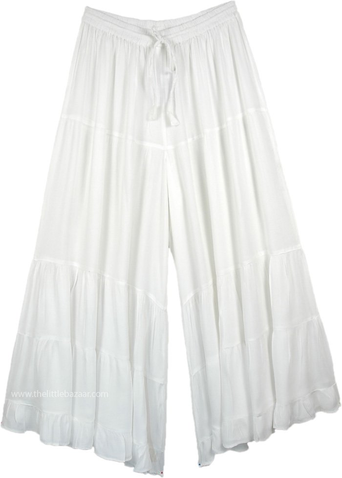 Solid White Wide Leg Long Summer Palazzo Pants