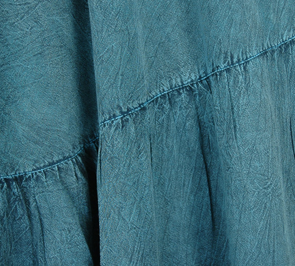 Teal Blue Stonewashed Boho Wide Leg Tiered Pants