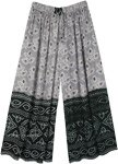 Black Grey Wide Leg Palazzo Pants with Traditional Print