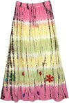 Daisy Flower Cotton Long Pastel Tie Dye Skirt