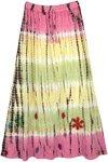 Daisy Flower Cotton Long Pastel Tie Dye Skirt