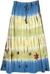 Blue Yellow Floral Applique Tie Dye Long Skirt