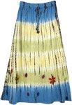Blue Yellow Floral Applique Tie Dye Long Skirt