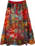 Red Toned Bohemian Gypsy Cotton Patchwork Skirt