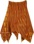 Asymmetrical Cotton Light Boho Summer Skirt in Orange and Yellow