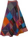 Cotton Patchwork Wrap Around Skirt with Festive Golden Tinsel