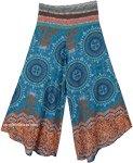 Teal Mandala Magic Wide Leg Boho Festival Pants for Women