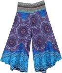 Purple Hue Wide Leg Pants with Elastic Woven Waist